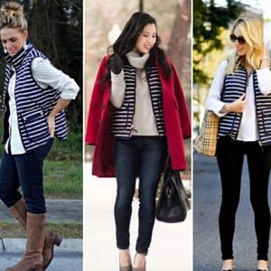 J. Crew Striped Excursion Quilted Puffer Vest